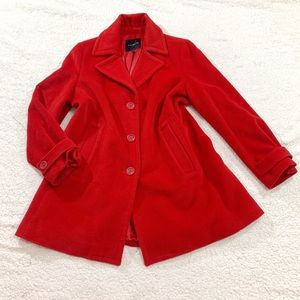 Talbots red wool collared pea coat